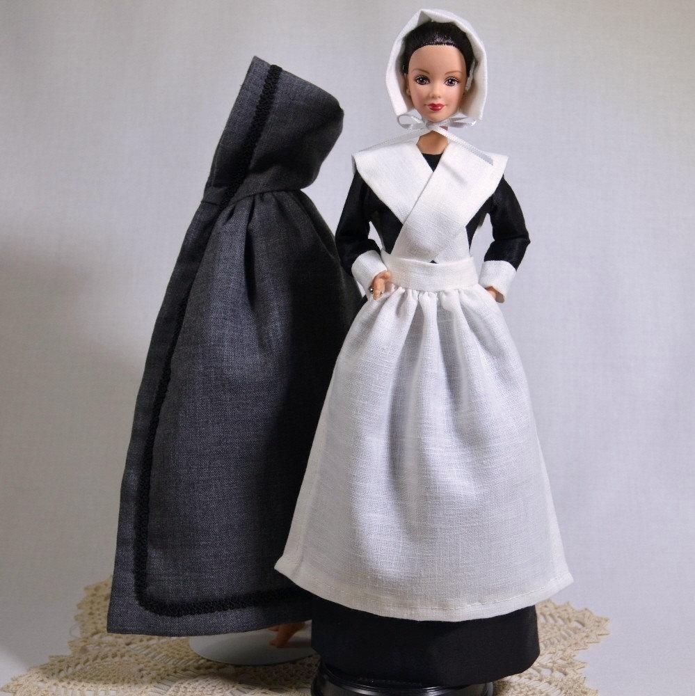 Pilgrim Puritan Historical Barbie Outfit Circa 1600s Handmade