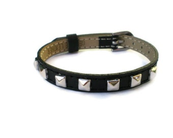 Genuine Leather Bracelet With Studs -  Silver Tone Pyramid Studs - 8mm Black Strap -  Adjustable - Layering Bracelet