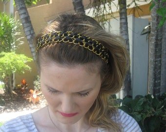 Black and Gold Chain Braid Elastic Headband, for weddings, parties, evening, special occasions