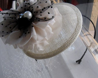 Ivory Chiffon Black Tulle Ribbon Pearl Flower Sinamay Fascinator Hat with Veil and Satin Headband, for weddings, bridesmaid, parties