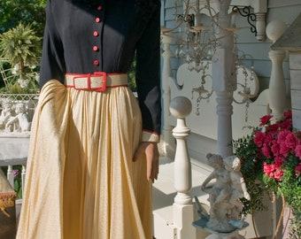 Vintage Navy / Yellow Silk Dress