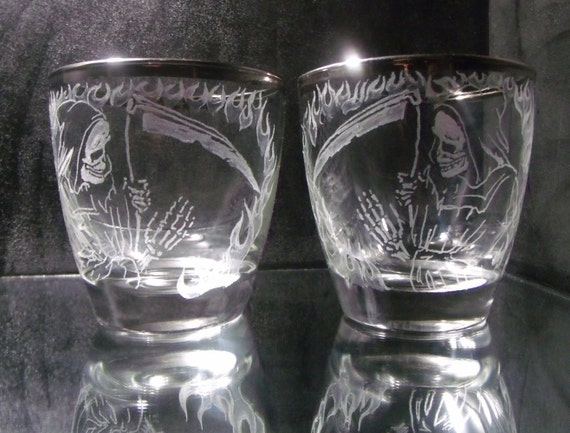 Reaper glass tumbler , hand engraved one of a kind set with matching grim reaper /death and platinum tone distressed top bands