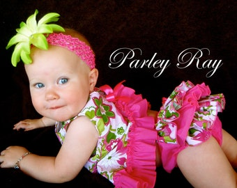 Beautiful Parley Ray Strawberry Lime Pinafore Dress with Ruffled Baby Bloomers Diaper Cover Pageants Photo Prop