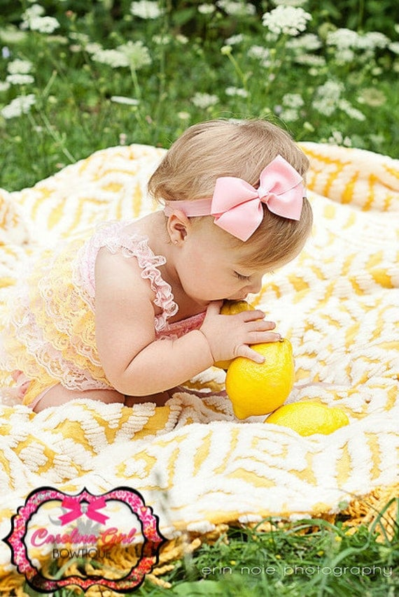Pink Bow Headband - Pink  Bow on an Elastic Headband Baby Infant Toddler - Girls Hair Bow