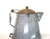Antique Graniteware Coffee Pot Large Chuck Wagon Gray Speckled Pot
