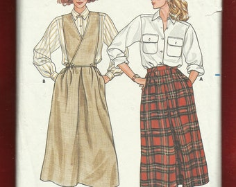 1985 Butterick 3331 Front  Inverted Pleated Skirt  with Detachable Front Wrap Bid and Classic Shirt Sizes 14-16-18