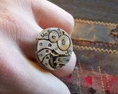 Steampunk Ring, Adjustable, Vintage Watch Parts, clockwork