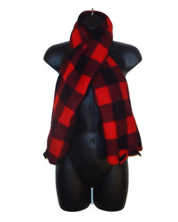 Upcycled Red and Black Womens Long Warm Fleece Bow Scarf Winter Accessory