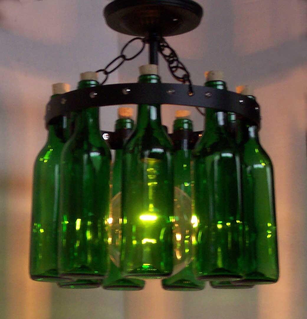 Items similar to mini wine bottle chandelier ceiling lamp on etsy - Wine bottles chandelier ...