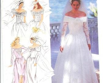 Vintage 1992 Simplicity 7919  Bride and Brides Maid Dress Sizes 4 to 10 UNCUT