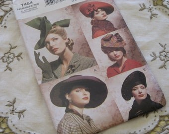 Vogue Accessories Retro Vintage HATS styles from 1930's - 1940's Sewing Pattern New Uncut Pattern dated 2001