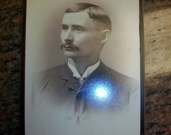 Vintage Cabinet Card Edwardian Gentleman w/ Mustache 1800s Photograph