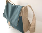 laptop messenger bag, vegan large size bag, outside pocket bag, cross body bag,  petrol blue messenger bag , over the shoulder bag, - LIGONaccessories