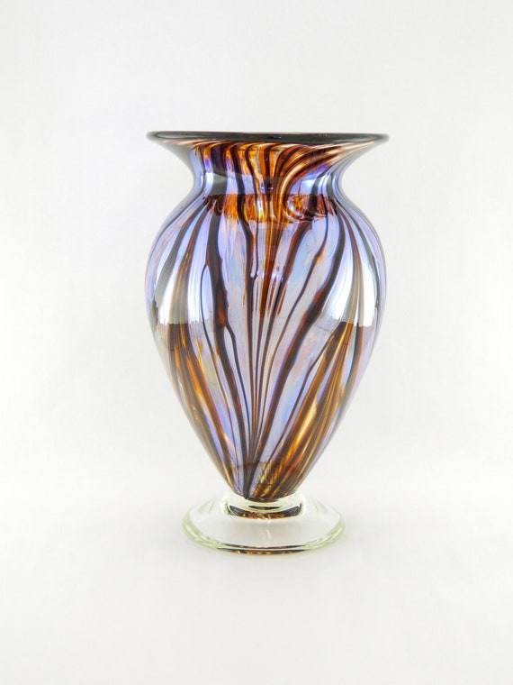 Hand Blown Art Glass Vase - Iridescent Amber, Scarlet Red, and Black