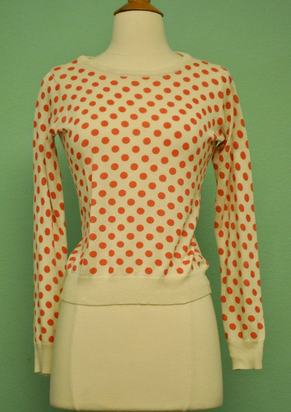 Polka Dot Pinup Sweater with Bows - White with Pink Long Sleeve Sweater - 50s Style Rockabilly Cardigan