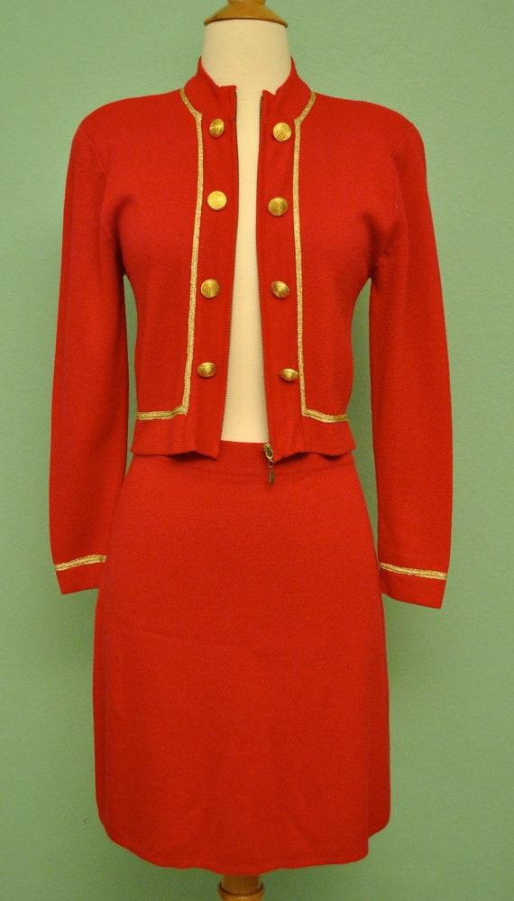 Vintage Red Suit Dress - 1960s St John Inspired Jacket and Matching Skirt - 60s British Mod Girl