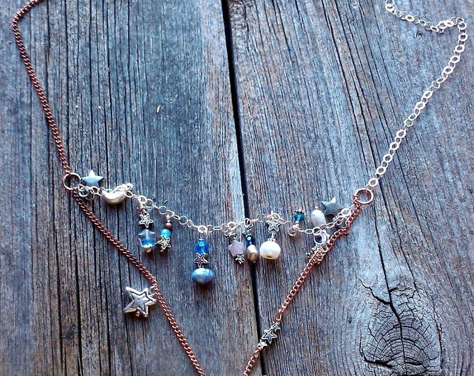 Moon Star Necklace, copper and brass movable pendant