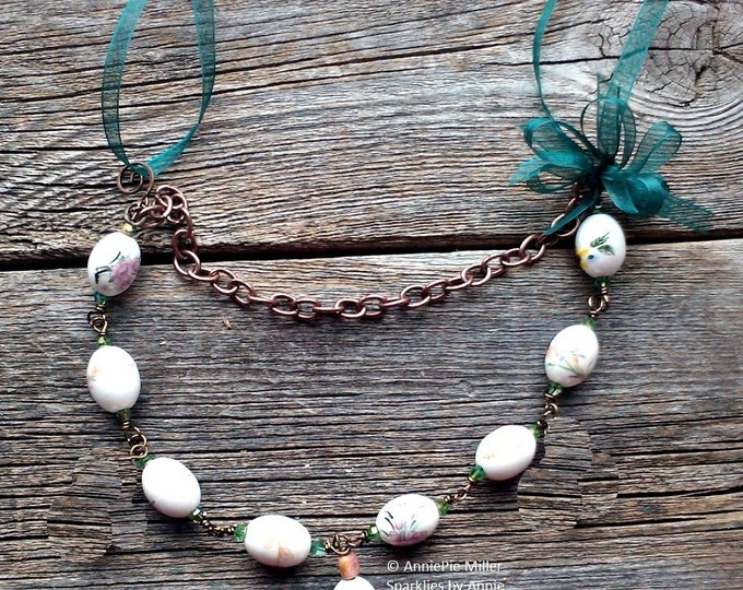 Ribbon and Beads, brass chain and organza ribbon necklace