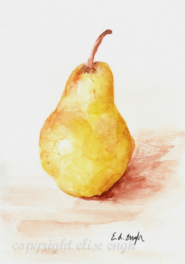 golden yellow pear original watercolor painting