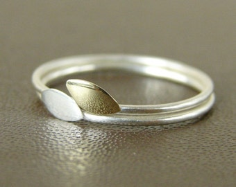 Delicate stacking rings. Two leaves. Sterling silver and gold brass. Gift under 50