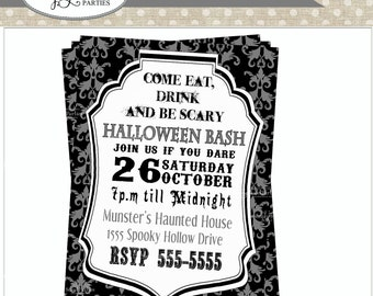 Halloween Black and Silver Damask DIY printable invitation
