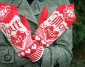 Your Mom Last Night - Red & White Humorous Mittens