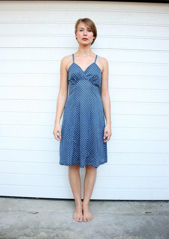 Vintage 70s Blue Polka Dot Knee Length Slip Dress