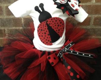 Ladybug Tutu Set - Ladybug Costume - Size 9M thru Size 5T