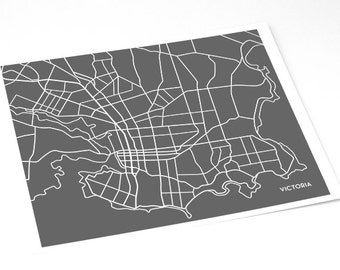 Victoria BC Map Art City Poster / Canada Line Map Digital Print / 8x10 / Personalized colors