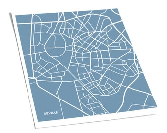Seville Street Map City Artwork / Sevilla Spain Poster Print / 8x10 / Personalized colors