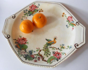 Golden Peacock & Lotus C.C. Thompson Pottery Co Madison Serving Plate 1920's vintage