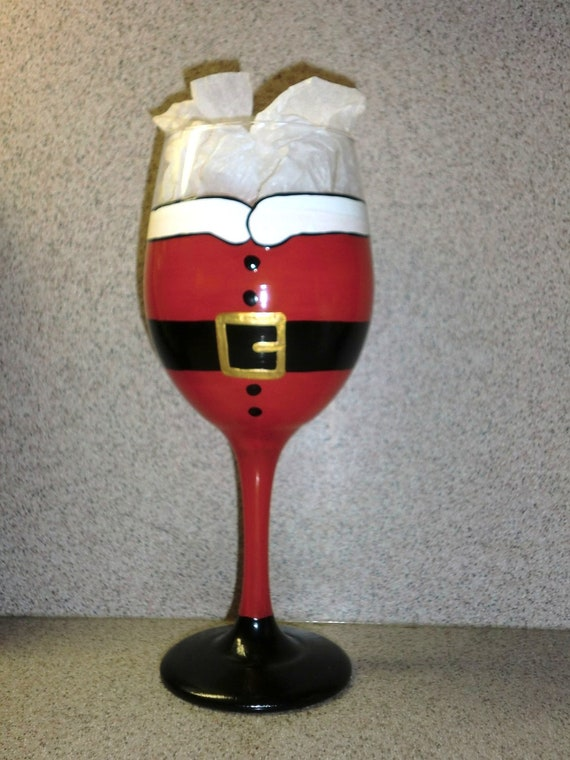 Items similar to santa clause hand painted wine glass on etsy for Holiday wine glass crafts
