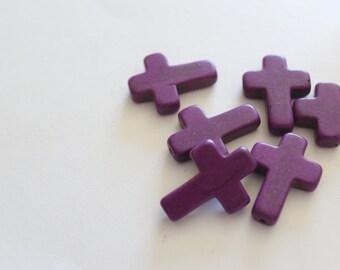 Purple Turquoise Howlite Cross Beads - 30x22mm - 6pcs - Ships IMMEDIATELY -  B776