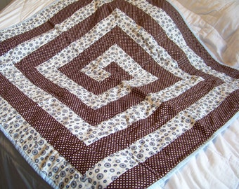 Handmade Baby Quilt, Toddler Boy Quilt, Brown, Blue and White 100 % Cotton Baby Quilt, Dot Quilt, Newborn Quilt, Modern, Boy Nursery