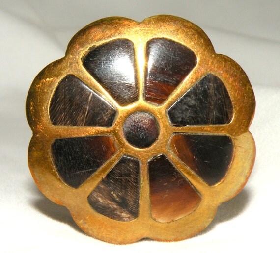 Vintage Snuff Box Trinket Tin Brown MOP Tiny Pill Box