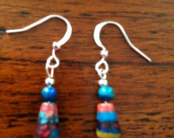 Multicolored stone dangle earring with sterling silver accents