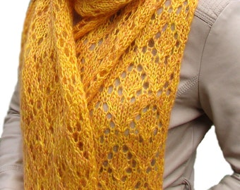 Yellow mohair scarf soft long / Lacy Mohair shawl