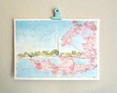 Washington DC art watercolor painting landscape cherry blossoms washington monument