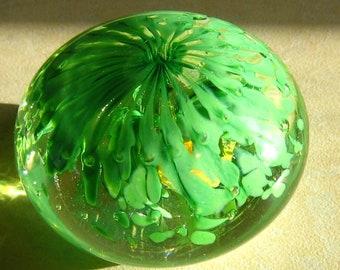 Sea Palm - hand blown art glass paperweight