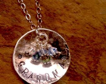 Grandma, Nana or Mother Birthstone Sterling Silver Custom Necklace