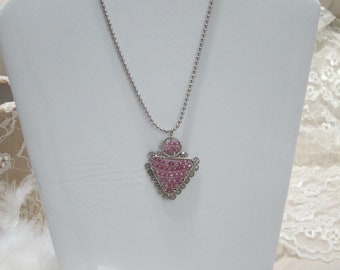 Silver Tone Vintage Necklace with Pink Stones Pendant
