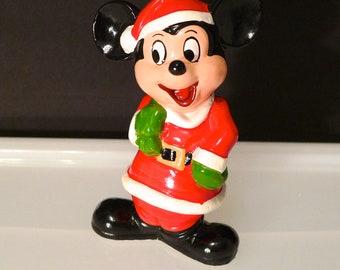 Vintage Mickey Mouse Santa Walt Disney Productions Mickey Sack of toys Disneyana 1960s Christmas Licensed Holiday Figurine Made in Korea