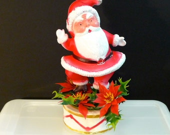 Plastic Santa Waving Vintage Christmas Waving Santa Dancing on a Drum Table Decoration Santa Claus St Nick 1960s Holiday Decor Cute Funny