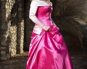 Sleeping Beauty Costume, Adjustable and Washable Aurora Dress, Pink Medieval Gown, Sleeping Beauty Cosplay, Princess Halloween Costume Party