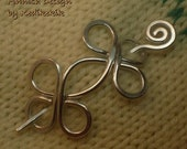 STURDY Medium HAMMERED CELTIC Brooch, Hair Pin or Shawl Pin For Scarf made with Aluminum Wire - Very light to wear -