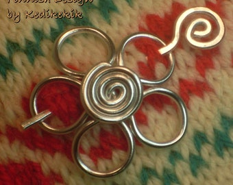 Small Flower Brooch, Hair Pin or Shawl Pin For Scarf made with Aluminum Wire - A Beautifully Unique Gift