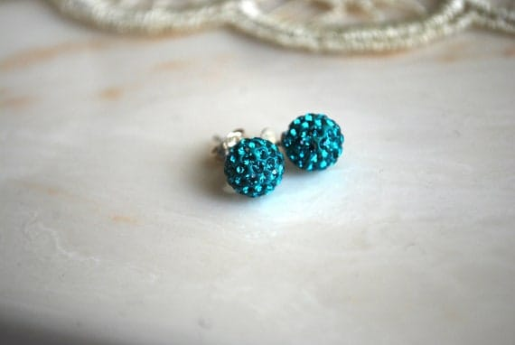 Turquoise Crystal Studs -- Turquoise Czech Crystal Balls, Sterling Silver