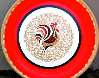 Vintage Rooster Tray Round Large Plate Mid Century Kitsch