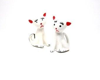 Vintage Kitty Salt and Pepper Shaker Set Ceramic Japan