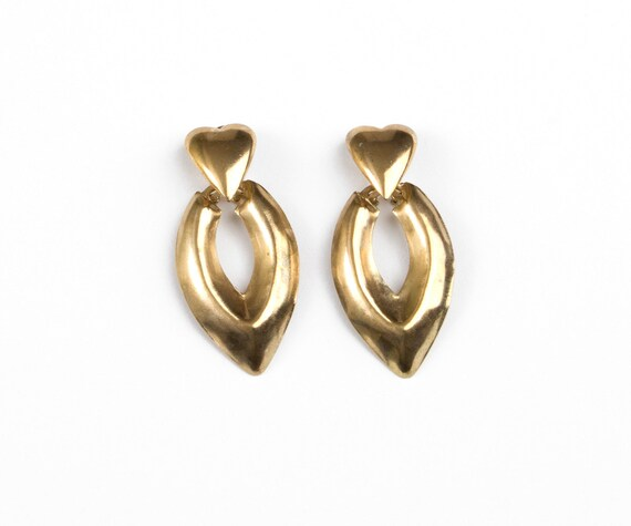 80s Vintage Earrings Gold Hearts